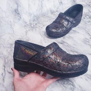 Dansko Clogs- Size 38, Black/ Iridescent Finish